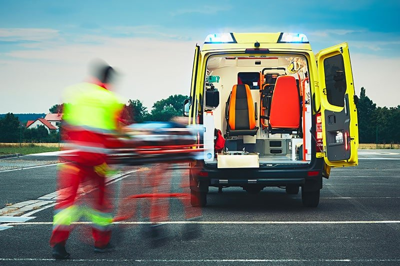 Ambulance after a personal injury car accident